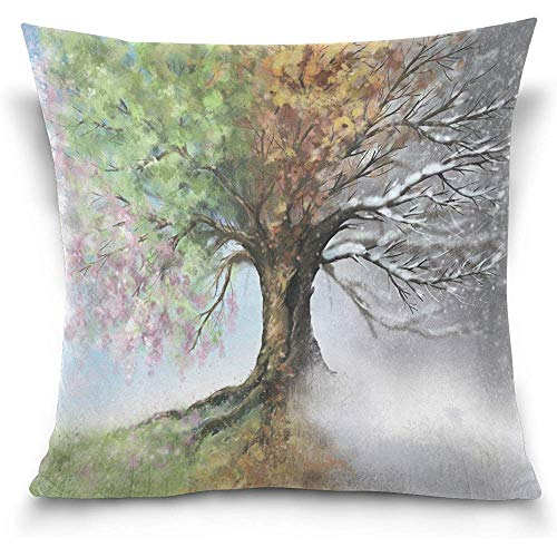 Maozond8 Square Throw Pillow Cover Home Decorative Cushion Case, Four Season Tree Landscape Nature Sofa Bed Pillow Case Cover(18x18inch) Twin Sides
