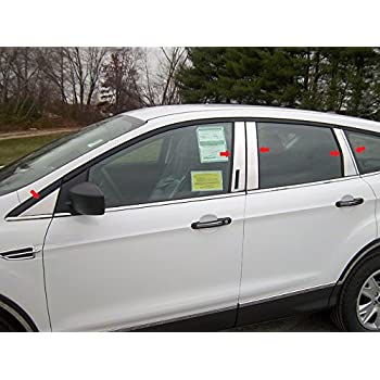 Works with 08-2012 Ford Escape 6 PC Stainless Steel Chrome Pillar Post Trim Made in USA