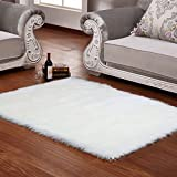 Faux Sheepskin Rug by Ruglush:Rectangle, Super Soft,FluffyArea Rug& Seat Cover| WhiteThrow Floor MatFor Living Room,Bedrooms, Children's Playroom& Bathroom| Back Lining Suede Fabric