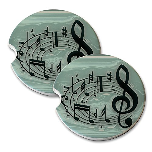 Coasters Drink Swirl (Musical Notes Staff Swirl - Car Cup Holder Natural Stone Drink Coaster Set)