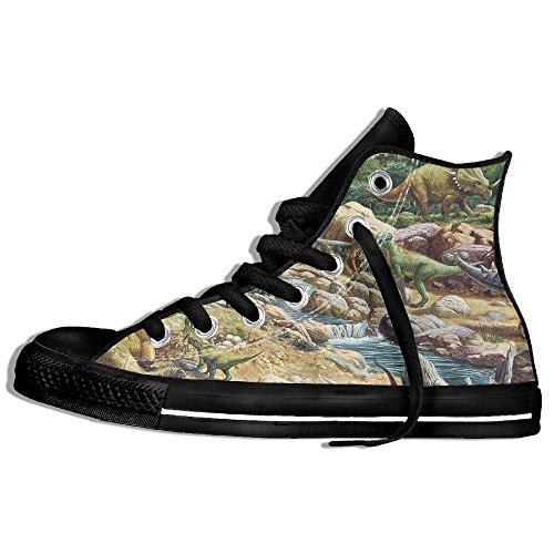 Classiche Sneakers Alte Scarpe Di Tela Anti-skid Dinosaur Painting Casual Walking Per Uomo Donna Nero