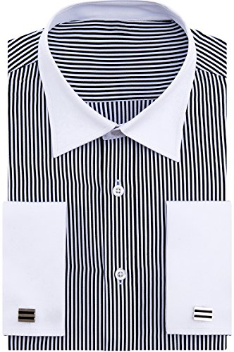 (Alimens & Gentle French Cuff Regular Fit Contrast White Collar Dress Shirts,Black)