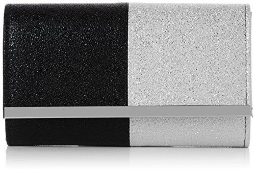 SwankySwans - Sam Glitter Color Block, Pochette da giorno Donna Argento (Black Silver)