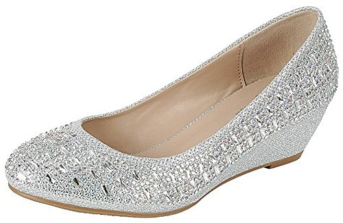 FOREVER Womens Low Wedge Heel Closed Toe Wedding Party Dress