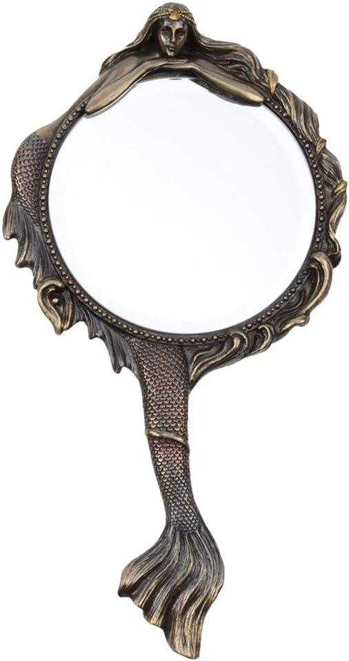 Unicorn Studios Vintage Style Hand Held Mermaid Vanity Mirror