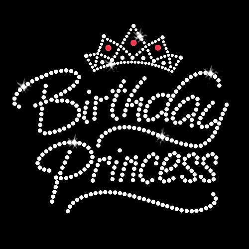 Birthday Princess Iron On Rhinestone Crystals and Rhinestuds T-Shirt Transfer by JCS Rhinestones