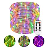 Battery LED Rope Lights, Greenclick 120 LEDS LED String Lights 45Ft with 8 Mode Remote Timer, Waterproof Decoration Lighting for Indoor Outdoor Christmas Garden Party Wedding Holiday