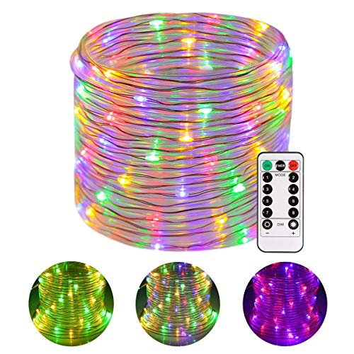 (Battery LED Rope Lights, Greenclick 120 LEDS LED String Lights 45Ft with 8 Mode Remote Timer, Waterproof Decoration Lighting for Indoor Outdoor Christmas Garden Party Wedding Holiday)