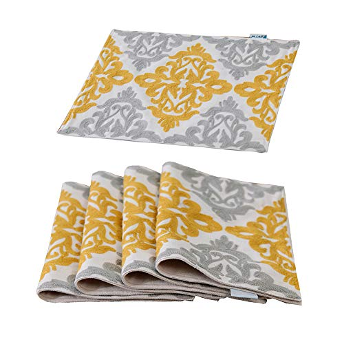 HWY 50 Linen Washable Yellow Embroidered Placemats for Dining Table Heat Resistant Kitchen Table Mats Modern Euro Decor Geometric Elegant Floral Meal Pad 13 x 18 Inches Set of -