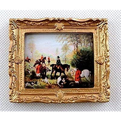Melody Jane Dollhouse Miniature Accessory The Hunt Scene Picture Painting Gold Frame: Toys & Games