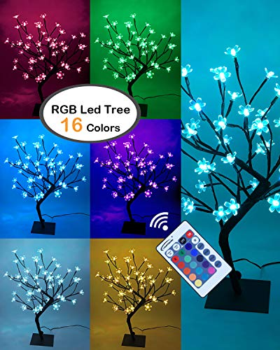 Lightshare 18Inch Cherry Blossom Bonsai Tree, 48 LED Lights, RGB with Remote Control, 16 Color-changing Modes, 24V UL Listed Adapter Included, Metal Base Ideal As Night ()