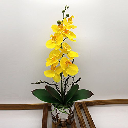 Phaleanopsis Arrangement with Vase Decorative Artificial Orchid Flower Bonsai (Metal, yellow)