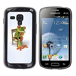 Estuche Cubierta Shell Smartphone estuche protector duro para el teléfono móvil Caso Samsung Galaxy S Duos S7562 / CECELL Phone case / / Philosophy Frog White Minimalist Wonder /