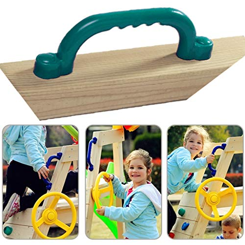 Ymeibe 10 inch Kids Play Handles with Hand Grips Solid Playground Playset Safety Handles Ideal for Climbing Frame Tree House Dens Play House (Dark Green)