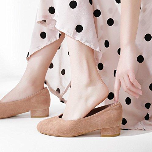 Poco NBWE Pink Color Profondi con Bocca Mocassini di Scarpe Donna Grandi 409 Caramello Scarpe Dimensioni Basso da Tacco TwqrwI