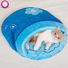 WeMore(TM) New Design Slipper Style Cat Kitty Bed Blue Embroidery Print Cat Sleeping Bag Winter Warm Small Dog Cat House Indoor