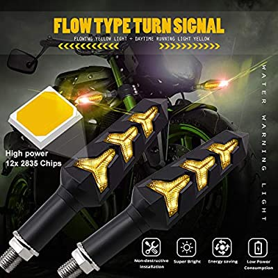 Motorcycle Turn Signal LED Lights 12 LEDs Amber Flowing Indicators Amber Daytime Running Lights Waterproof 12V for Motorcycle Motorbike Off-Road Vehicle.2-Pack. (Amber): Automotive