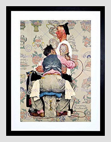 PAINTINGS PORTRAIT TATTOO PARLOUR SAILOR INK ARTIST FRAMED ART PRINT B12X9918