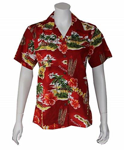 Women's Island Treasure Hawaiian Aloha Shirt (L, RED) - Island Aloha Shirt