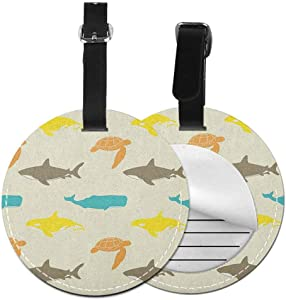 """Multicolor round luggage tag Sea Animals Quickly find the suitcase Pattern with Whale Shark and Turtle Aquarium Doodle Style Marine Life,Diameter3.7"""" Ivory Taupe Peach"""