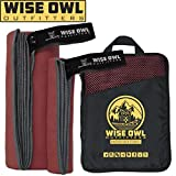 Wise Owl Outfitters Camping Towel - Ultra Soft Compact Quick Dry Microfiber Best Fitness Beach Hiking Yoga Travel Sports Backpacking & The Gym Fast Drying, Free Bonus Washcloth Hand Towel LG Red