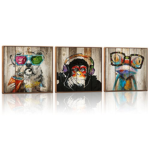 - Kolo Wall Art Abstract Animals Frog Gorilla Dog Painting Picture Image Printed on Canvas Home Wall Decor Art Decoration Living Room Bedroom Wall Art (24