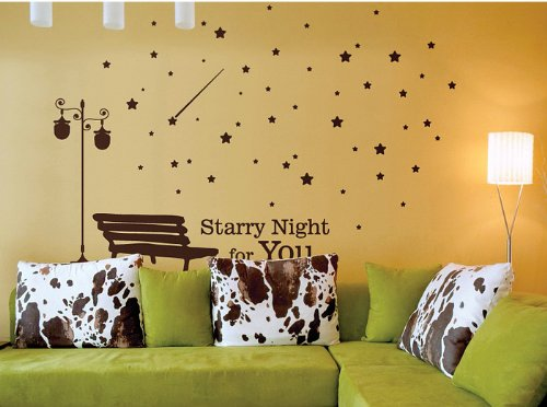 Newsee Decals Starry Night For You Stars for Kids' Room Vinyl Wall Art Deco Decor Mural Stickers Decal Brown