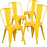 Poly and Bark Tolix Style Bistro A Dining Side Chair (Set of 4), Yellow