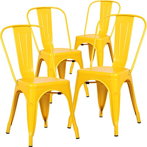Poly and Bark Tolix Style Bistro A Dining Side Chair (Set of 4), Yellow by Poly and Bark
