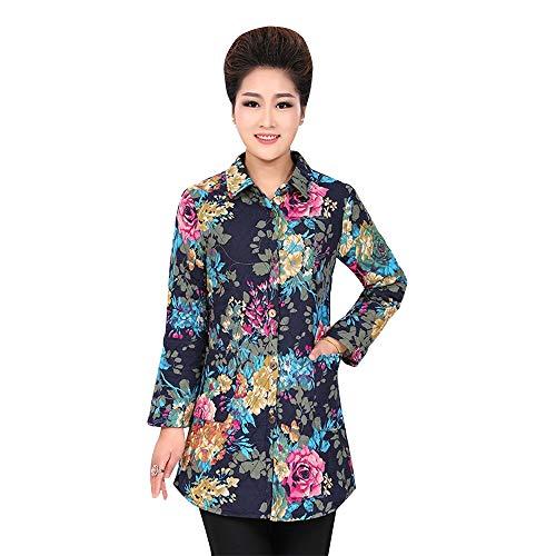 KINDOYO Womens Printing Long Coat - Elegant Long Sleeve Loose Floral Jacket Outwear Thicken Shirt Coat Blue