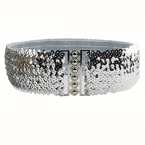 Aobiny Belts Women Fashion Waistband Dress Accessories Vintage Manual sequins Belt Straps (Silver)