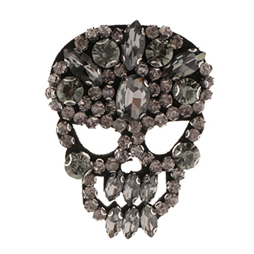 Homyl Pink Rhinestones Skull Applique Felt Back Patch Shinny Crystal Badge Clothing Applique Sewing On Clothes Jeans Shoes Hat DIY Apparel Decorations