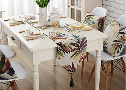 US-ROGEWIN Table Runner Polyester Cloth Tassels Jacquard Floral Leaves Pattern Dust Proof for Wedding Home Party Bed Covers]()