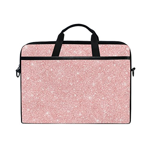 Laptop Case, Computer Sleeve Protective Bag Rose Gold Glitter Pattern 3 Layer with Durable Zipper for Lenovo Hp MacBook Pro Neoprene Notebook 14 15 inch