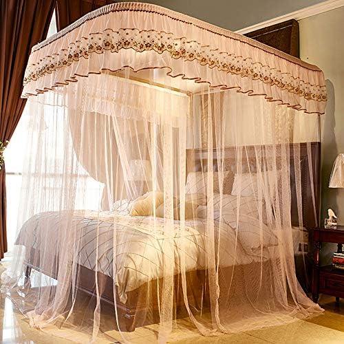 姫ベッドキャノピー,の-形の刺繍 防蚊ネット ヨーロピアンスタイル 1のためのステンレス鋼サポートが付いている暗号化糸のベッドのカーテン.5 1.8 M ベッド-h