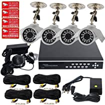 VideoSecu 4 Channel H.264 Real Time CCTV DVR Security Camera System with 4 Outdoor Security Cameras 420TVL, 4 of 50 Feet Video Extension Cables, 1 of 4 Channel Power Supply, 1of 2000GB Hard Drive WB3