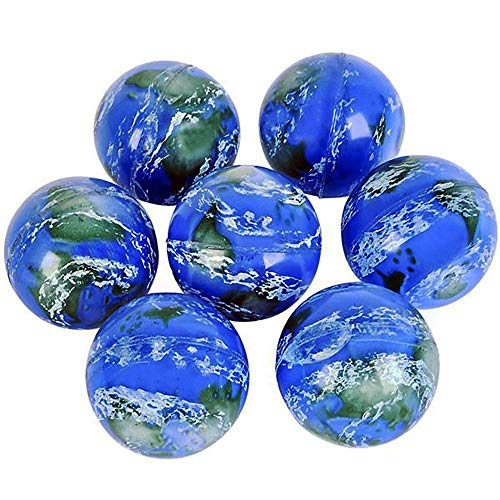 (Kicko Earth Ball 49mm 2 Inch (Pack of 6) - High Bounce Ball - Squeeze Earth Ball - Stress Ball - Small Game Prize)