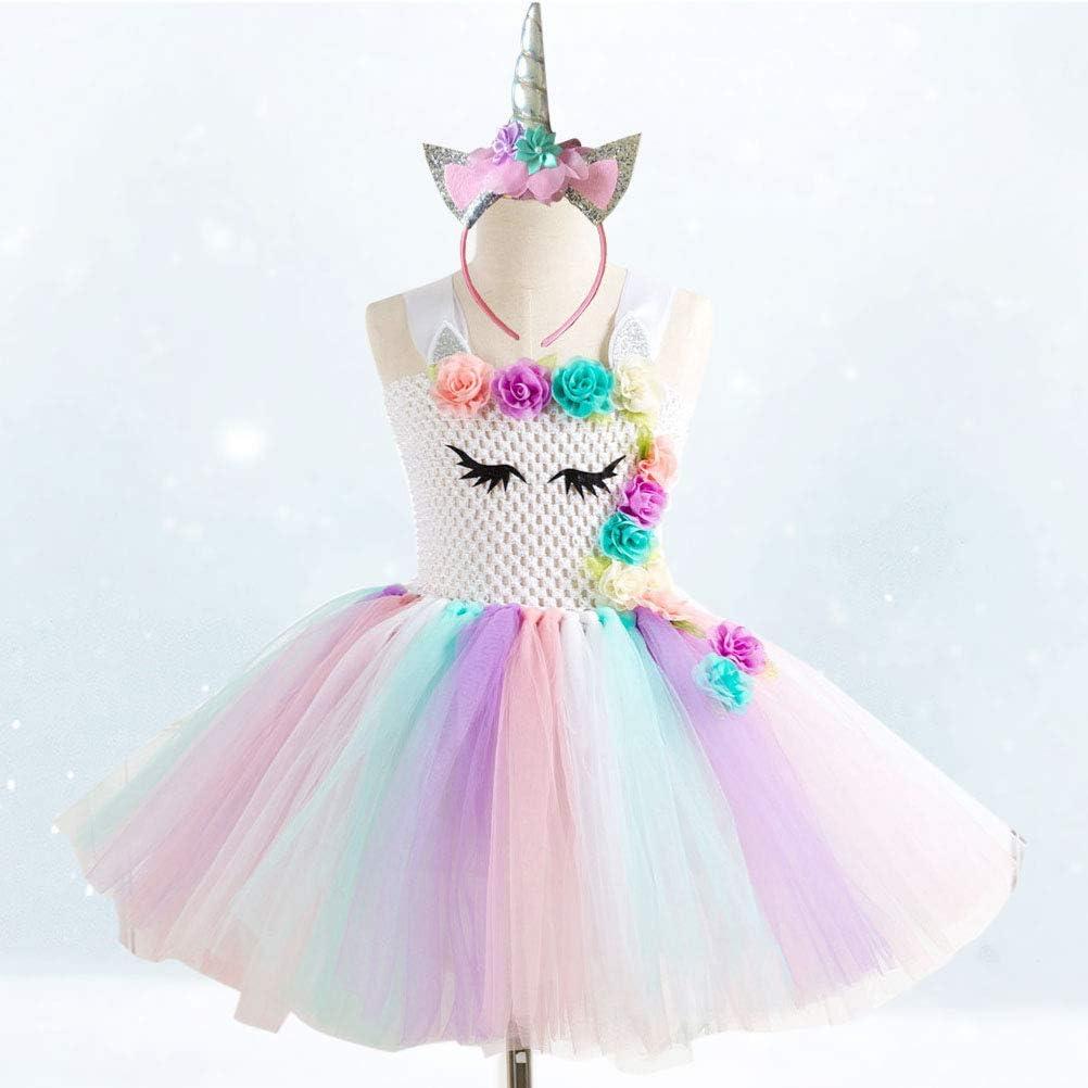 Amosfun Kids Unicorn Rainbow Dress Cosplay con diadema Princesa ...