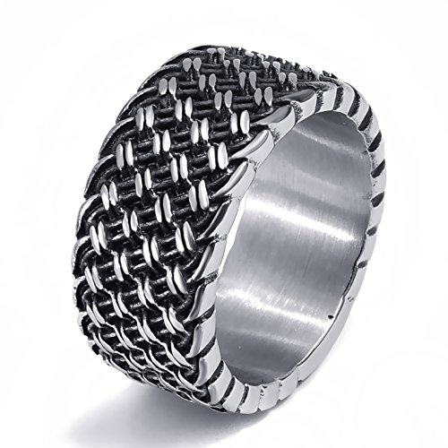 Elfasio 12MM Men's Fashion Elegant Weave Knot Stainless Steel Band Ring Silver Black (SIze 9)