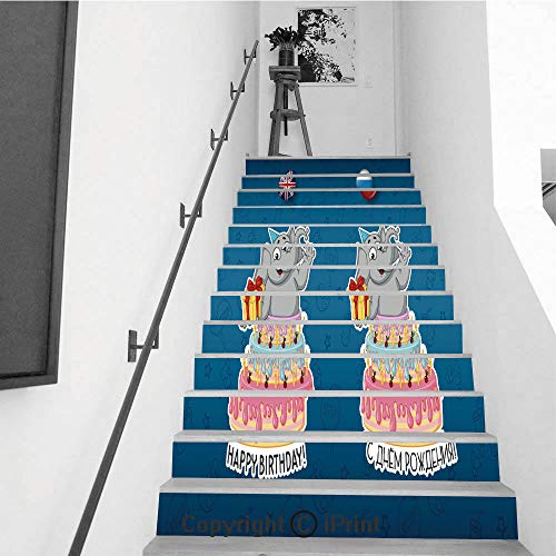 Self-Adhesive Stair Riser Decal - Stair Stickers Decals Wallpaper for Walls Kitchen Bathroom Stair Decals Home Decorations,13 PCS,Elephant Cartoon in English and russian2