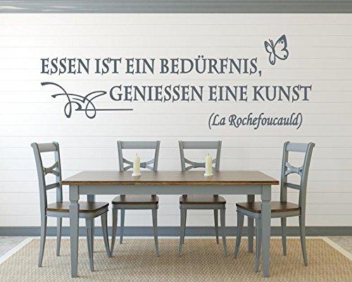 Xl Wandtattoo Für Die Küche Zitat Essen Ist Ein Bedürfnis Geniessen Eine Kunst Sprüche Blumenranke 620034 120x41 Cm Wandaufkleber