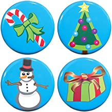 """Buttonsmith Christmas Icons 1.25"""" Refrigerator Magnet Set with Christmas Tree, Candy Cane, Present, and Snowman - Made in the USA"""