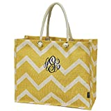Personalized Solid Gold Chevron Jute Top Handle Tote Bag