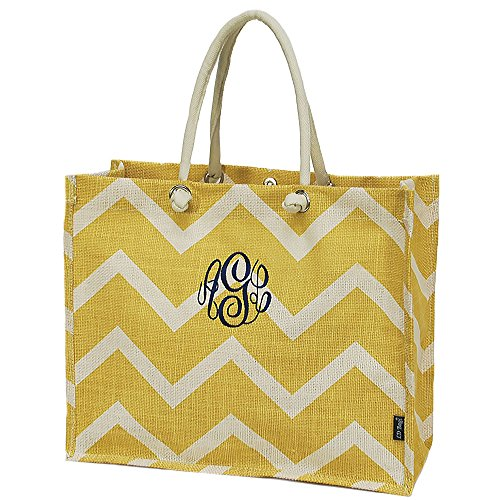 Personalized Solid Gold Chevron Jute Top Handle Tote Bag by LD Bags