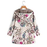 Womens Winter Warm Floral Print Hooded Pockets