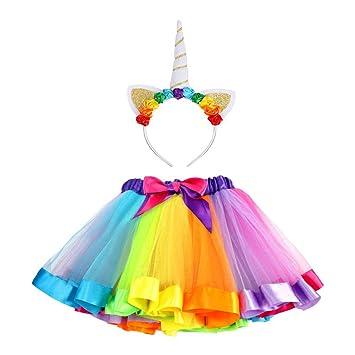 VAMEI Rainbow Ribbon Tutu Skirt para niñas pequeñas Fotos de ...
