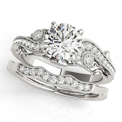Pretty Jewellery 14K White Gold Over 925 Silver Diamond Engagement Wedding Bridal Rings Set