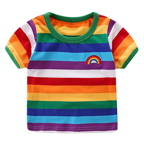 LittleSpring Little Boys T-Shirt Rainbow 6 Short Sleeve]()