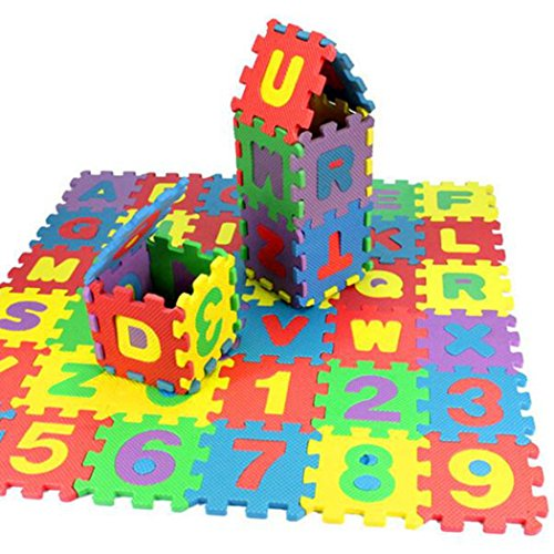 Kids EVA Foam Play Mat - 36 Pcs/Set Educational Toy Gift Baby Child Number Alphabet Puzzle Foam Maths, IConstruct Building Blocks,Puzzles,or Floormats - 4.72 x 4.72 inches/Pcs