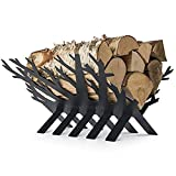Rustic Fireplace Log and Wood Holder - Indoor, Outdoor, Patio - Gunmetal Grey Decorative Holders - Weather- Resistant Storage Rack For Firewood and Kindling - Artistic Tree Design…